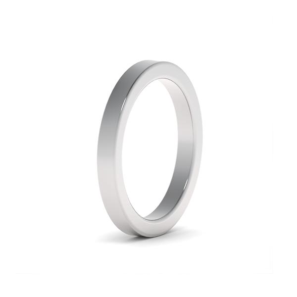 Обручальные кольца из платины 950 пробы шириной 2,5 мм с плоским профилем на заказ wc-5-2