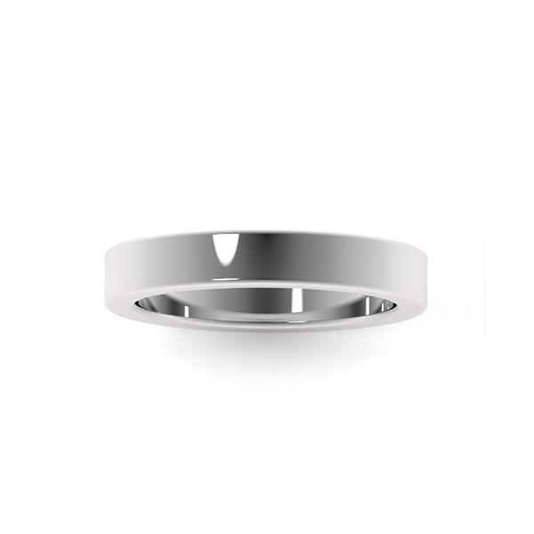 Обручальные кольца из платины 950 пробы шириной 3,5 мм с плоским профилем на заказ
