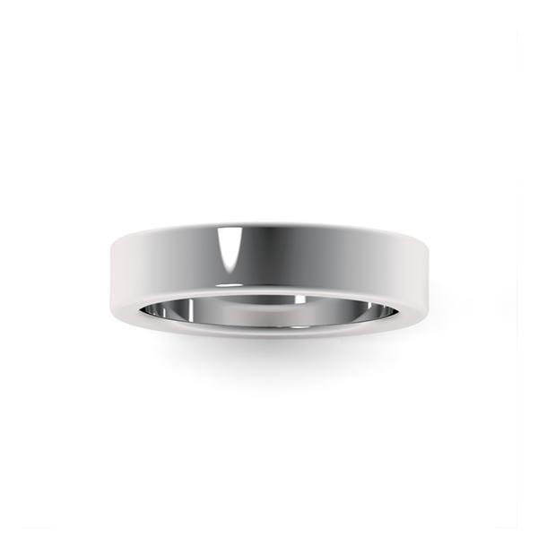 Обручальные кольца из платины 950 пробы шириной 4,5 мм с плоским профилем на заказ