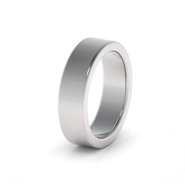 Обручальные кольца из платины 950 пробы шириной 5,5 мм с плоским профилем на заказ а Москве